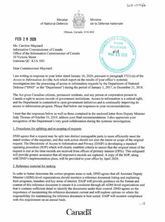 Letter from the Minister of the Department of National Defence to Information Commissioner dated February 28,