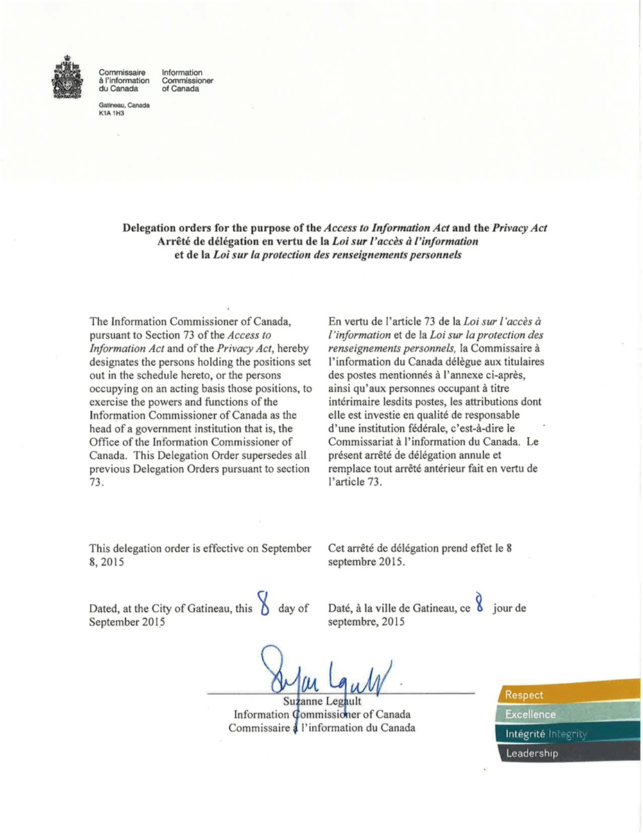Delegation orders for the purpose of <em>the Access to Information Act</em> and the <em>Privacy Act</em>